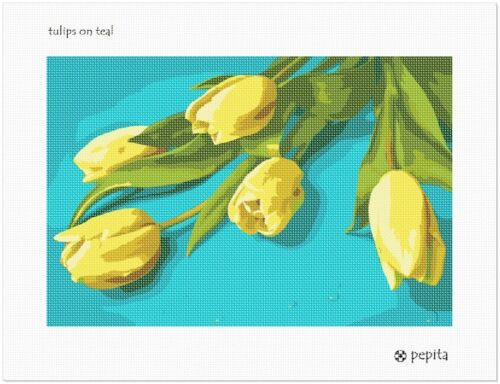 Floral//Flower//Nature Tulips On Teal Needlepoint Kit or Canvas