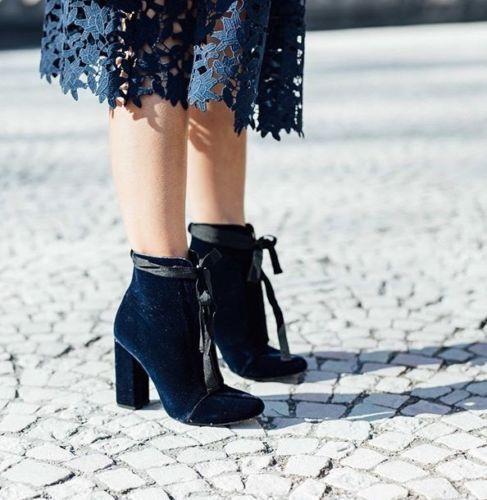 Zara High Heel Velvet Ankle Stiefel,Größe 37,38