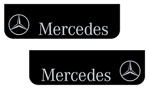 Mud Flaps Truck Lorry MERCEDES 18x60cm Smooth Black with White Logo