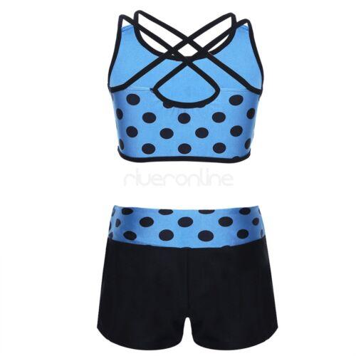 Zweiteiler Tankini Top mit Hotpants Sport Bademode Schwimmanzug für Mädchen Neu