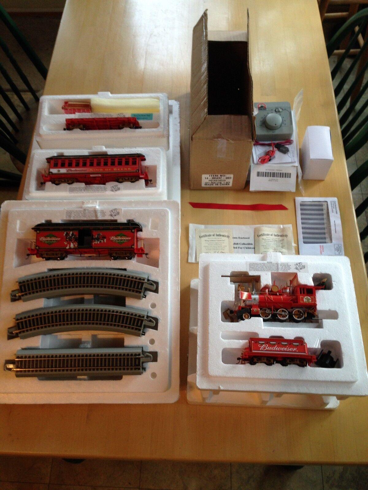Hawthorne Village Budweiser Holiday Express Train Set, ON30 Gauge 24 pc, COA