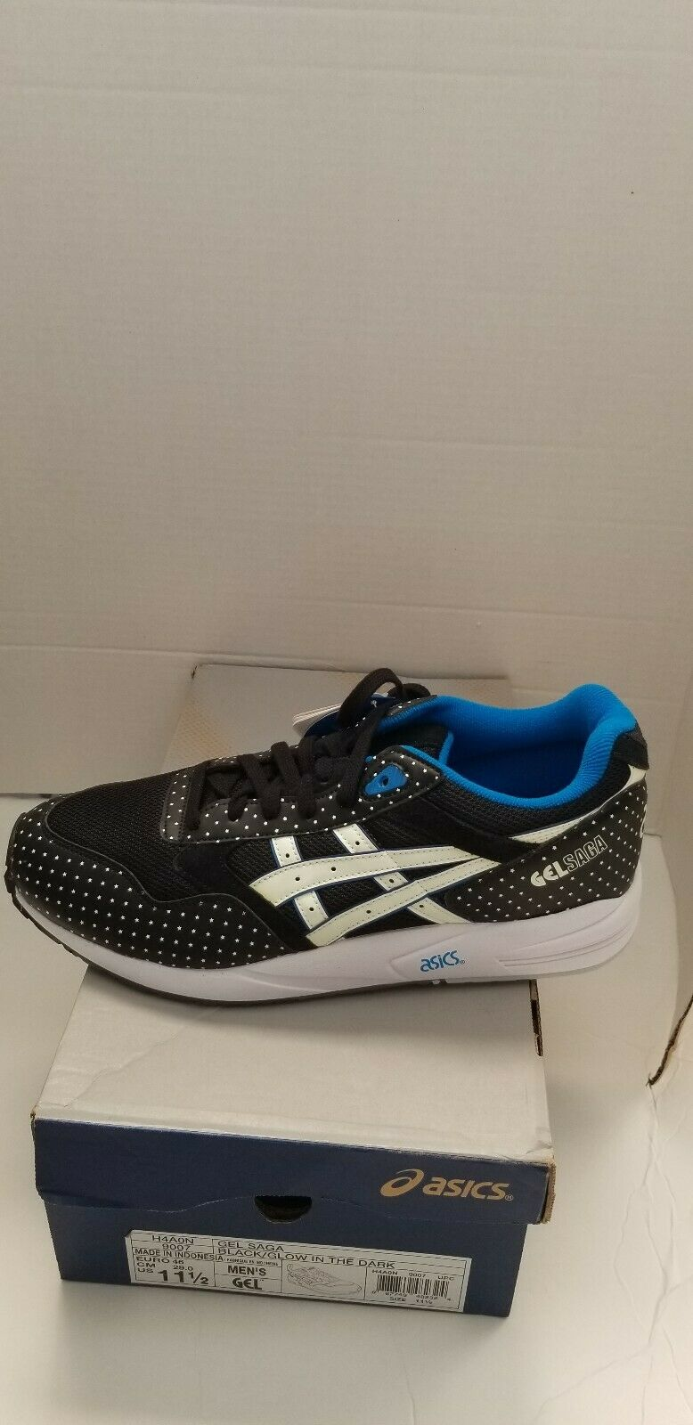 New in box, Men Asics Gel Saga Black Glow In The Dark shoes size 11.5 H4A0N