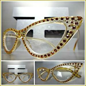 6232d0ff524 Details about Womens Classy Elegant Retro CAT EYE READING EYE GLASSES  READERS Bling Nude Frame