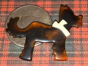 Possibly-Unsigned-French-LEAH-STEIN-tortoiseshell-lucite-pin-brooch-Scotty-DOG