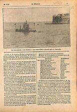 Submarine Sous-Marin la Loutre Sas de La Pallice/ Ernest Monis 1911 ILLUSTRATION