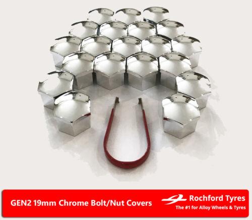 K Chrome Wheel Bolt Nut Covers GEN2 19mm For Vauxhall Astra 15-16