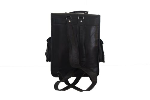 Real Black Leather Backpack Rucksack 17 Inch Laptop Shoulder Book Bag Unisex