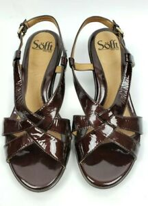 Sofft-7-5-womens-shoes-burgundy-patent-leather-strappy-wedge-heels