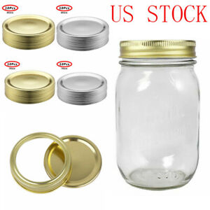 10x Regular//Width Mouth Mason Jar Split-Type Lids/_LeakProof Storage Solid Cap US