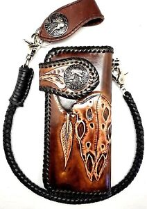 Biker-Chain-Wallet-motorcycle-trucker-Buffalo-Skull-tooled-engraved-Leather