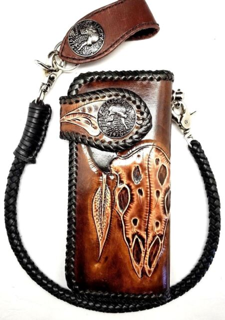 Biker Chain Wallet motorcycle trucker Buffalo Skull tooled engraved Leather