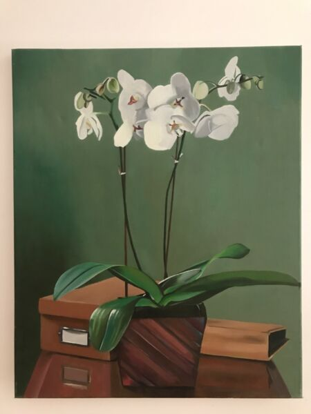 Floral Still Life Orchid Flower Oil Painting On Canvas Alta Seguridad