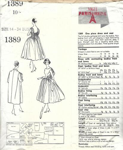 """1957 Vintage Vogue Sewing Pattern vestido y abrigo B34 1839 Por Patou/""""/"""""""