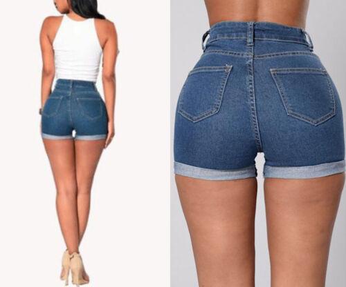 Pantaloncini Jeans Vita Alta Donna Woman High Waist Denim Shorts JEA010 P