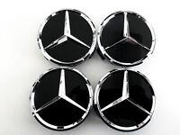 Mercedes Benz 75mm Black Wheel Center Caps Wc4pc502 Mb1 (set Of 4)