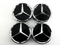 Mercedes Benz 75mm Black Wheel Center Caps Wc4pc502 Mb1 (set Of 4)