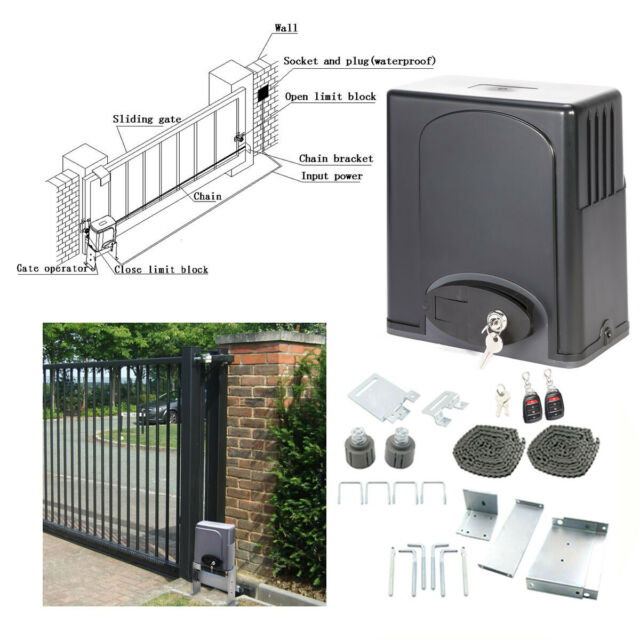 Sliding Gate Opener Electric Operator w.Remote Control Automatic Roller 1400lbs.