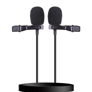 Doble Cabezal TRRS TRS Clip de Corbata Micrófono 3.5mm Jack para Cámara DSLR PC Teléfono inteligente