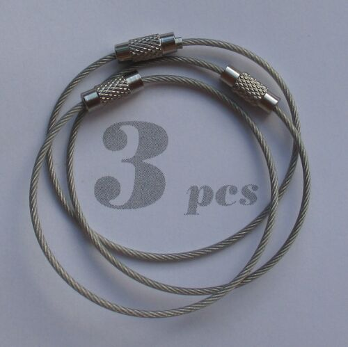 Wire Keychain Key Ring Stainless Steel Aircraft Cable With Screw Locking