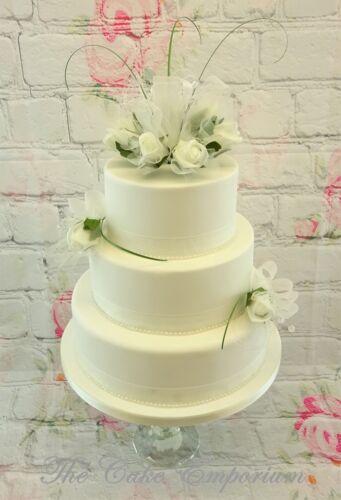 WEDDING CAKE TOPPER IVORY ROSE POSY /& 2 SINGLE ROSES SATIN RIBBON /& PEARLS SET
