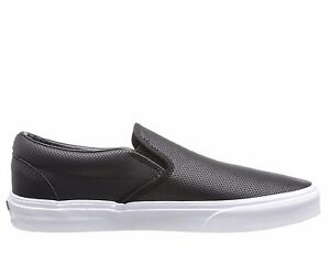 46307f78e7 Men s Vans Classic Slip on Black Perf Leather Fashion Sneakers VN ...