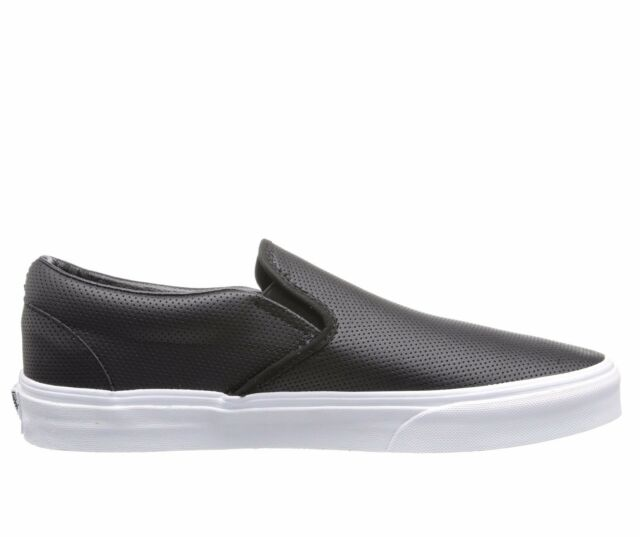 77f779012942 Men s Vans Classic Slip on Black Perf Leather Fashion Sneakers VN-0XG8DJ6  NEW