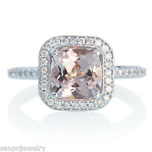 14K-1-50CT-WHITE-GOLD-CUSHION-MORGANITE-DIAMOND-HALO-ENGAGEMENT-RING-7MM-CENTER