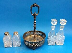 Vintage-Set-Glass-Silverplate-Stand-Italy-Salt-Pepper-Oil-Vinegar-Serving-Rack