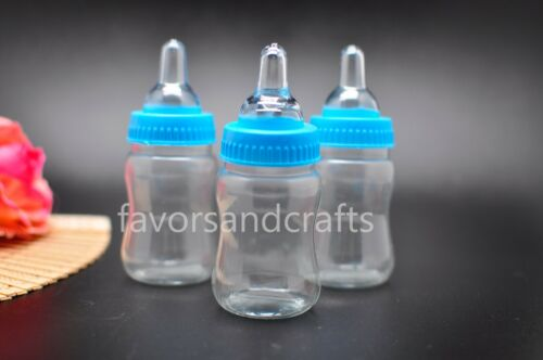 24 Fillable Bottles for Baby Shower Favors Blue Pink Party Decorations Girl Boy
