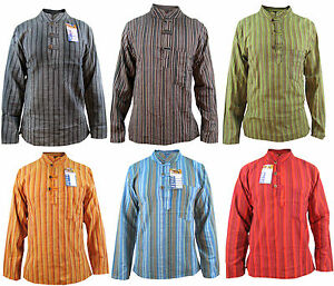 Stripy-Men-039-s-Grandad-Hippie-Cotton-Summer-Light-Colorful-Nepalese-Shirts-Tops