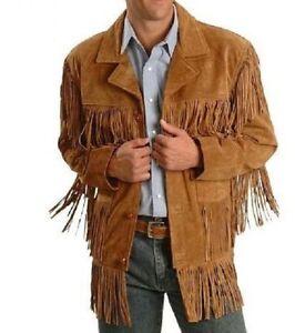 New Men western fringe jackets, Men brown fringe jacket Men cow ...