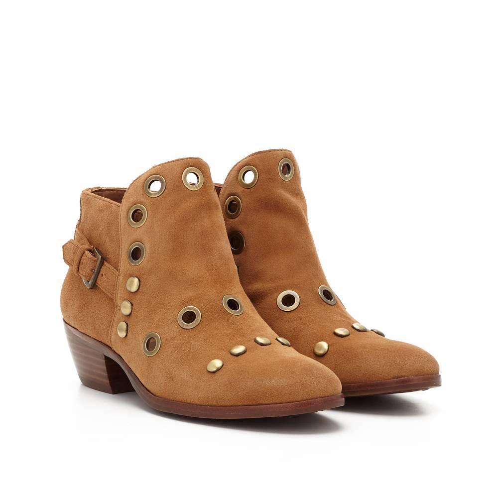 Sam Edelman Damenschuhe Größe 6 Pedra Grommet Suede Ankle Stiefel Cognac Braun Studs