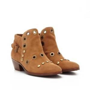 383e97aa86a649 Sam Edelman Womens Size 6 Pedra Grommet Suede Ankle Boots Cognac ...