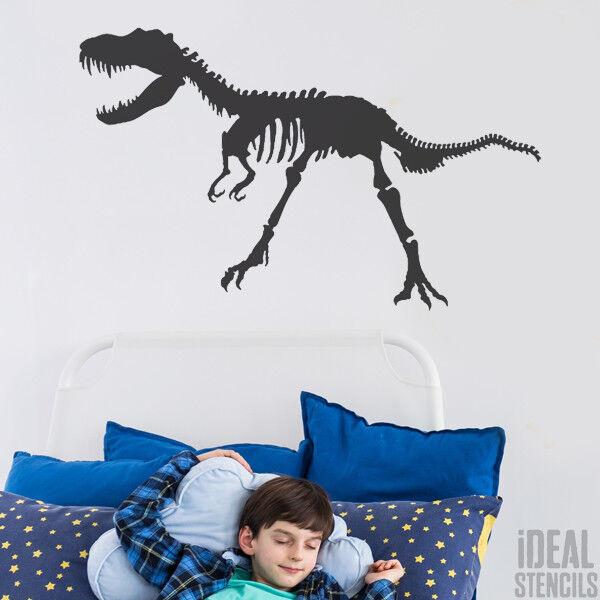 T-Rex Dinosaur Skeleton Stencil Boys Bedroom Wall Decor Art Craft Painting Reuse