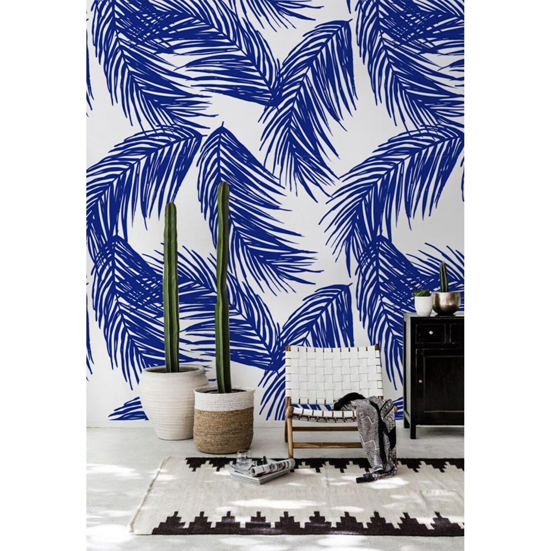 Navy palm leaf Tropical print Non-Woven wallpaper wall Modern home decor Mural