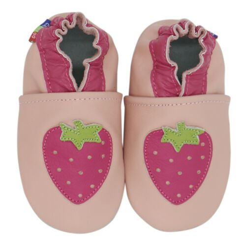 carozoo strawberry pink 18-24m soft sole leather baby shoes