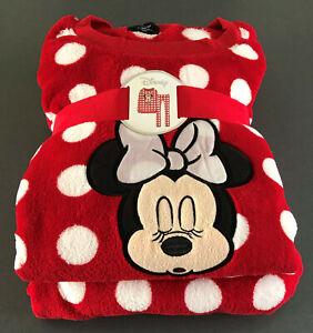 Disney-Minnie-Mouse-Damen-Pyjama-Schlafanzug-Fleece-Hausanzug-Mickey-Maus-S-M-L
