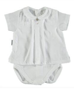bc8c2dbfd Baby white bodysuit - shirt - by Spanish Brand Babidu - 1, 3, 6 & 18 ...