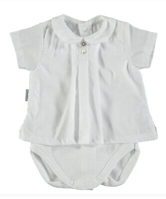 Spanish White Frilly Neck Short Sleeve Babidu Vest for girls and boys
