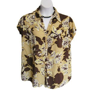 Susan-Graver-Blouse-Shirt-Plus-Size-2X-22W-24W-Floral-Roses-Brown-Yellow-S-S