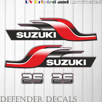 Suzuki 25 hp DT25 2 stroke outboard engine decal sticker set kit reproduction
