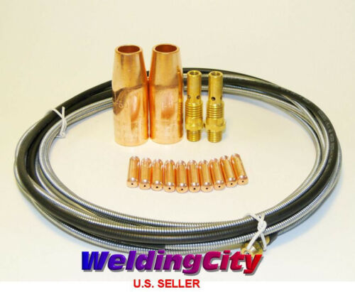 """MIG Welding Gun Kit .045/"""" for Lincoln 100L Tweco Tip-Diffuer-Nozzle-LinerM4L"""