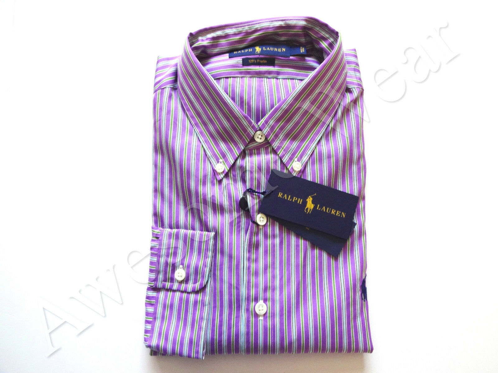 New Ralph Lauren Polo Purple Poplin Striped 100% Cotton Button Up Shirt sz S