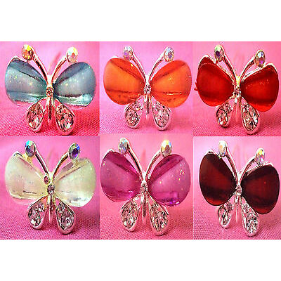 6pcsBridalRhinestone SilverPlatedButterfly Crystal Hair UPins,Clips, Accessories
