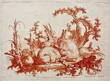 """Gilles Demarteau (1722-1776) Eau Forte Estampe Sanguine après J.B. Huet """"Lapins"""""""