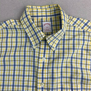 Brooks-Brothers-Button-Up-Shirt-Mens-Large-Non-Iron-Yellow-Blue-Check-Short-Slv
