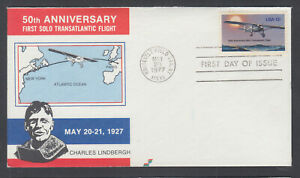 US-Pl-1710-J5-FDC-1977-13c-Charles-Lindbergh-Spectrum-Covers-FIRST-CACHET