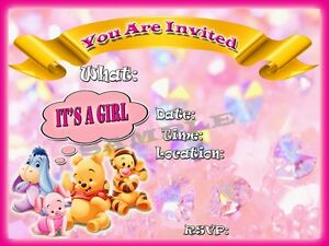 Its a girl baby shower invitations with matching envelopes winnie image is loading it 039 s a girl baby shower invitations with filmwisefo
