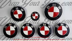 Blanco-amp-Rojo-Ardiente-para-BMW-Emblema-Insignia-Revestido-Envolvente-Capucha