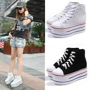 Women-Girl-High-Top-Canvas-Lace-Up-Comfort-Platform-Trainer-Sneaker-Casual-Shoes